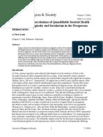 Quantifiable Societal Health With Popular Religiosity