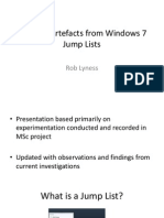 Forensic analysis of Windows 7 Jump Lists