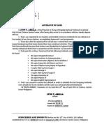 Affidavit of Loss-2013