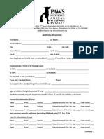 60 PAWS Adoption Application RevOct2010