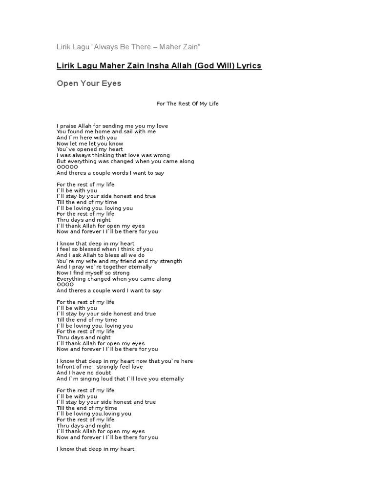 Open your eyes lyrics maher zain