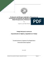 Evaluación de Proyectos de Higiene y Seguridad