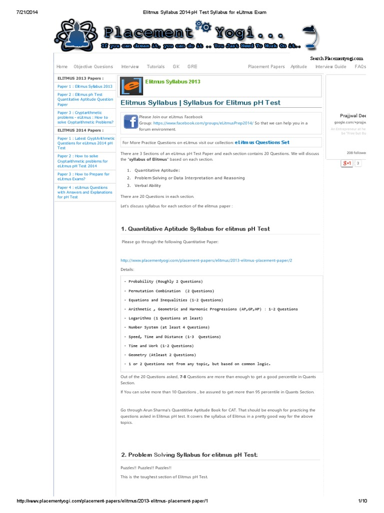 problem solving syllabus for elitmus ph test