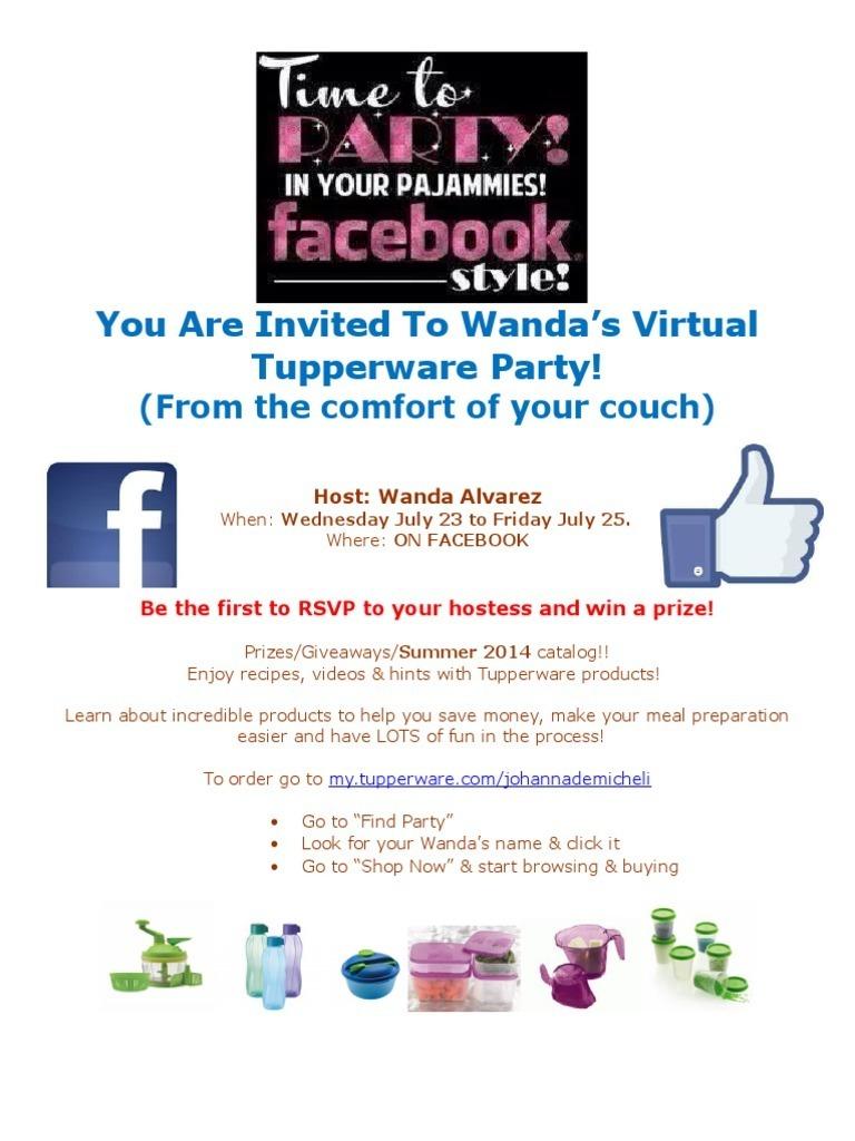 virtual tupperware party invite