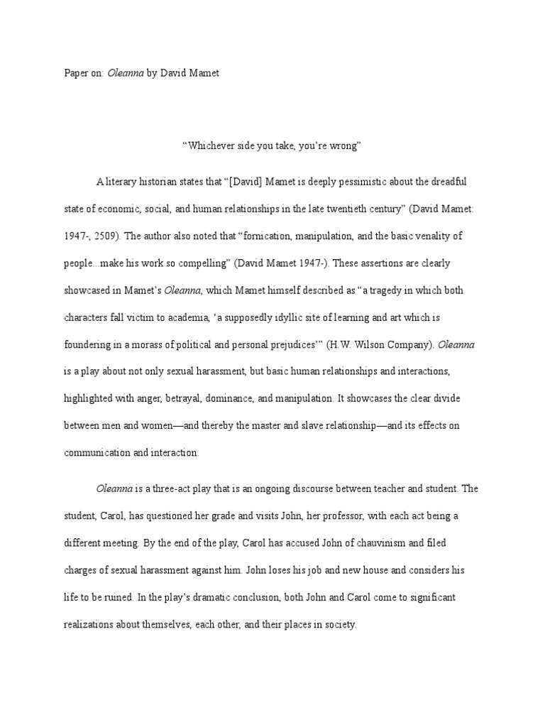 oleanna essay conclusion