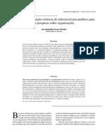 Algumas Contribuições Teóricas Do Referencial Psicanalítico Para Pesquisas Sobre Organizações