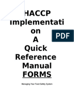 Forms - HACCP Implementation Manual