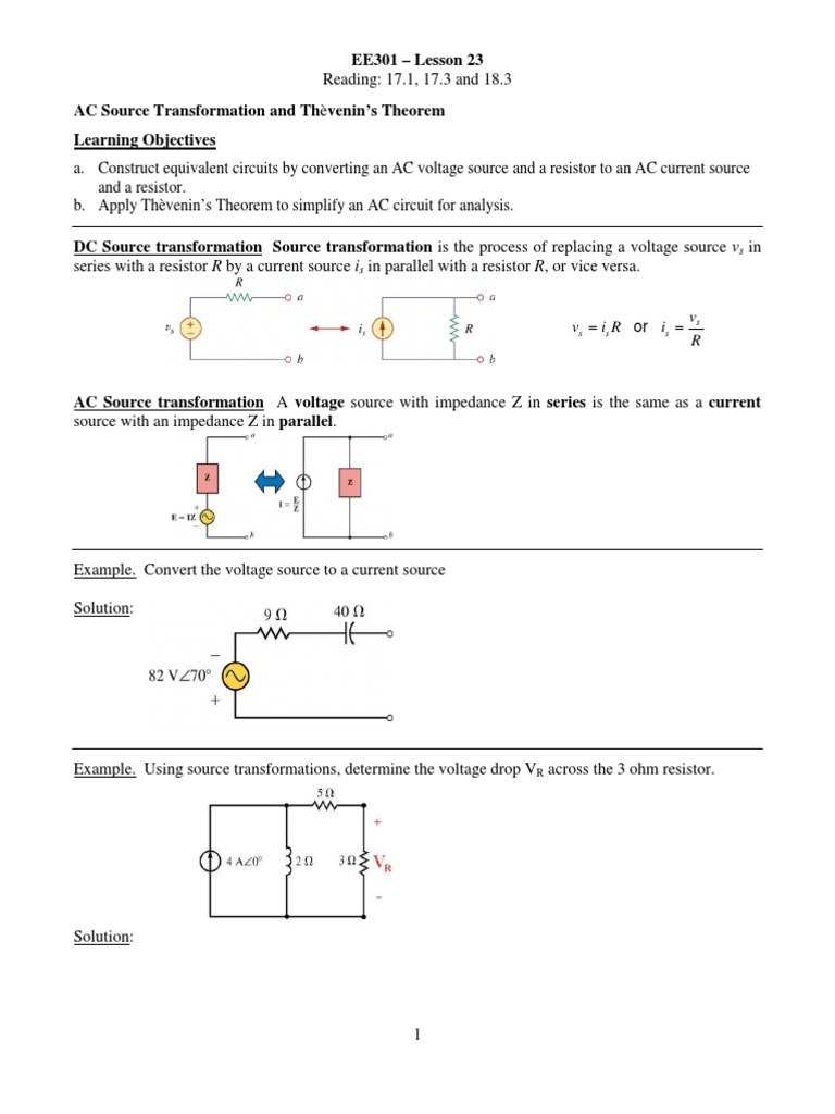 Thevenin Voltage Resistor Ac Equivalent Circuit With Current And Source