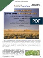 Plantas Andinas y Sus Usos Tradicionales - Daniel Bertero y Otros (Argentina, 2009) Artículo 8 Pp