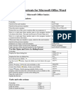 Keyboard Shortcuts for Ms Word
