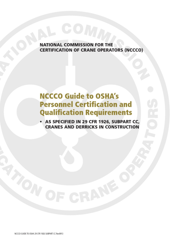 Nccco Guide to Subpart Cc 0913 Web | Certification | Test