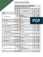 Tabela de Taxas 2014 - Veículos
