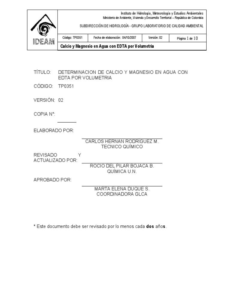 TP0351 Calcio y Magnesio en Agua Con EDTA Por Volumetría