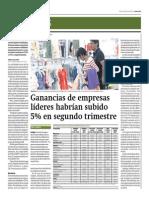Ganancias de Empresas Líderes Habrían Subido 5% en Segundo Trimestre_Gestión 22-07-2014