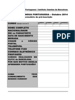 Formulário Pré-Inscrição 2014 Outubro