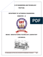 Me6465 Manufacturing Technology Manual