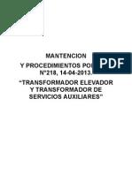 Mantencion Trafo, Elevador y Aux. SODI Nº 218, 14-04-2013