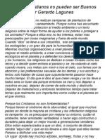 Gerardo Lagunes Porque los Cristianos no pueden ser Buenos Ecologistas