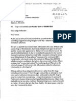 Letter to Judge Hollander regarding Hoge Treachery