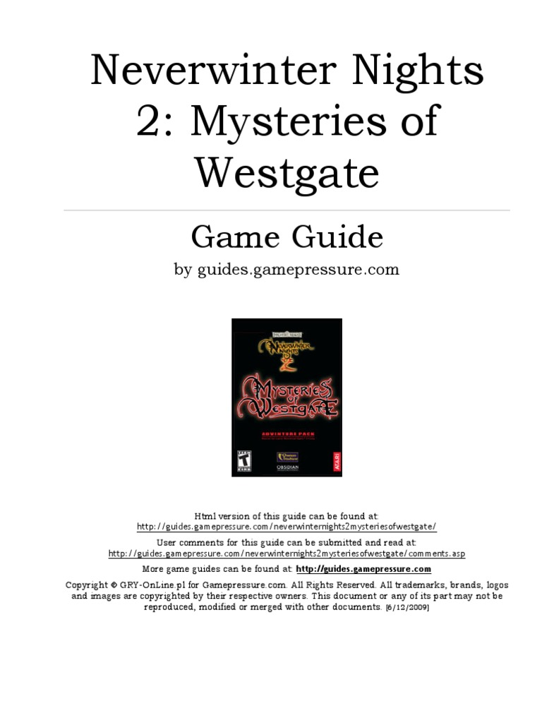Neverwinter nights 2 Mysteries of Westgate game GUIDE (Gamepressure