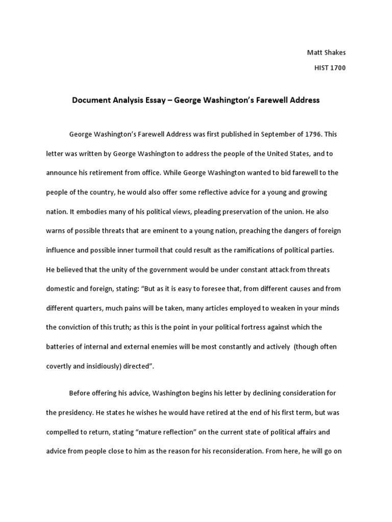 The Yellow Wallpaper Analysis Essay Document Analysis  George Washington Farewell Address  George Washington   Politics Healthy Mind In A Healthy Body Essay also English Essay Structure Document Analysis  George Washington Farewell Address  George  Position Paper Essay