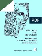 Analisis Del Discurso (Introduccion a Su Teoria y Practica), Leopoldo Artiles Gil