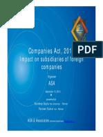 ASA Presentation the Companies Act 2013 Major Impact on Indian Subsidiaries