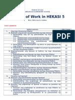 Budget of Work - HEKASI 5