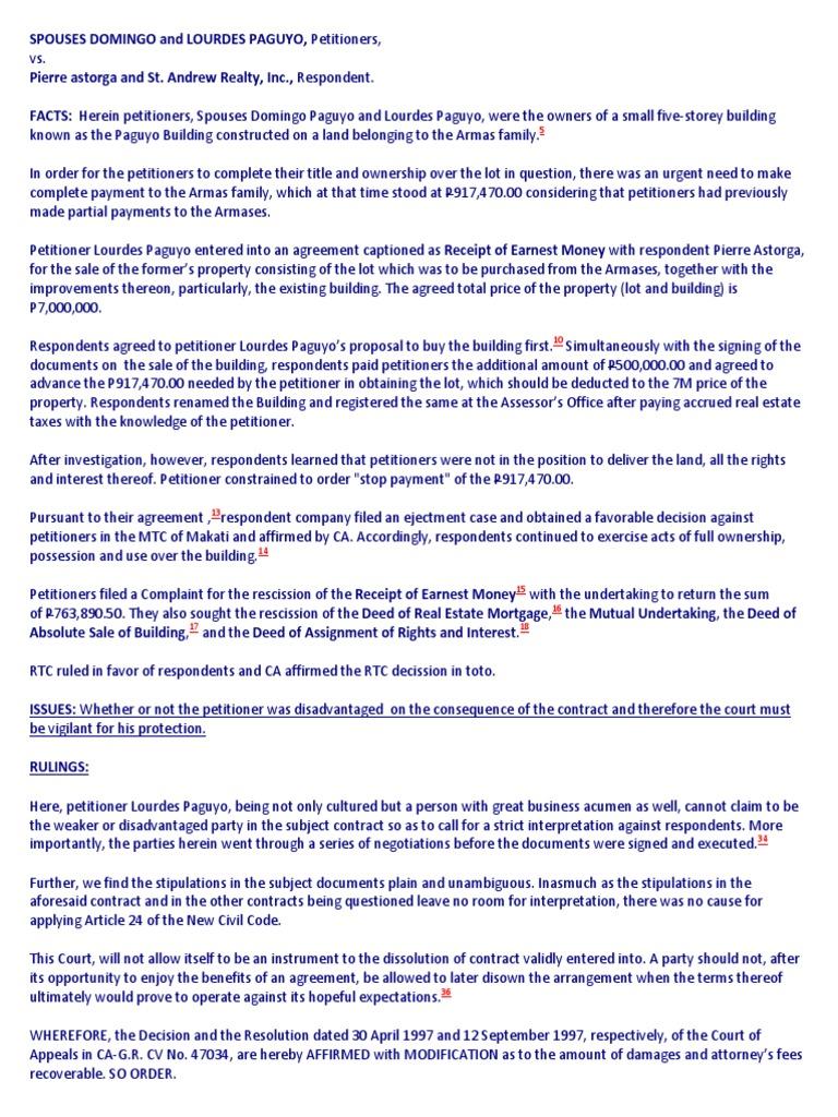Paguyo Vs Astorga Deed Assignment Law