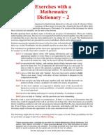 Mathematic Dictionary #2