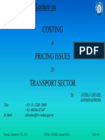 Costing and Pricing. Issues in Transport Sector