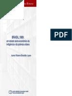 Brasil 1989- Um Estudo Sócio-econômico Da Indigência e Da Pobreza