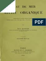 84474252 L Eau de Mer Milieu Organique Par Rene Quinton