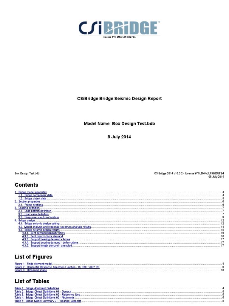 Csi Bridge Design Report | Mechanics | Earthquake Engineering