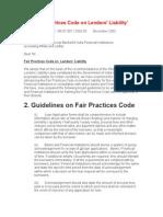 Fair Practices Code on Lenders RBI Guidelines