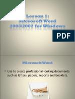 microsoft word tutorial..lesson 1