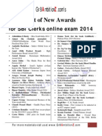 Awards 2014 List for SBI Clerks