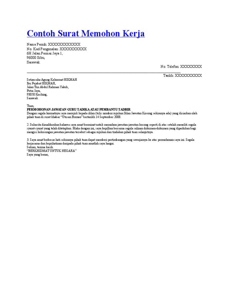 Contoh Surat Memohon Kerja Doc