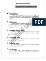 what are the different kinds of business letter