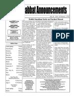 Shabbat Announcements  July 26, 2014