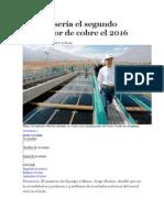 El Perú Sería El Segundo Productor de Cobre El 2016