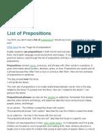 List of Prepositions
