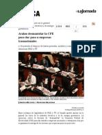 La Jornada- Avalan Desmantelar La CFE Para Dar Paso a Empresas Trasnacionales