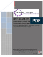 Best Practices - American Sign Language and English Interpretation Within Legal Settings