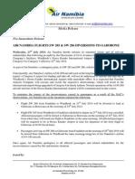 Air Namibia diverts flight to Gabarone
