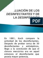 Evaluación de Los Desinfectantes Y de La Desinfección