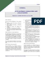 UEMOA - Pratiques Commerciales Anticoncurrentielles