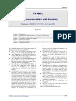 UEMOA - Code Antidumping
