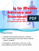 Planning for Effective Advocacy and Dissemination