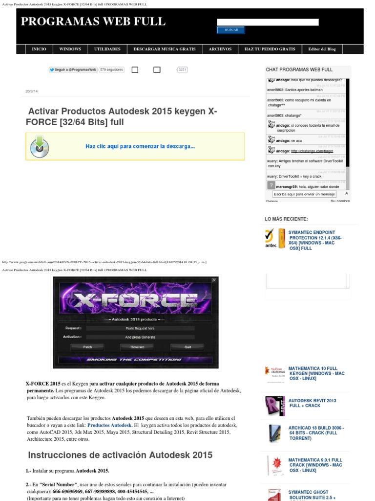 Activar productos autodesk 2015 keygen x force 32_64 bits full _ programas